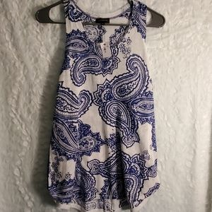NWT The Limited Blue Paisley Tank Top Size XS